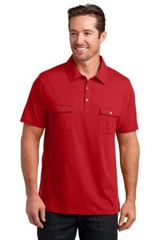DM333 District Made™ Mens Jersey Double Pocket Polo