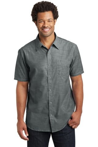 DM3810 District Made Mens Short Sleeve Washed Woven Shirt