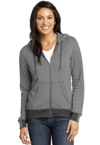 District Made 153 Ladies Mini Stripe Full Zip Hoodie DM490