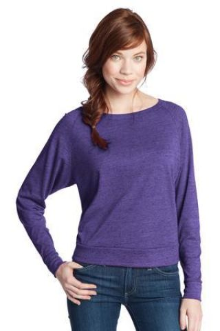 District Juniors Textured Wide Neck Long Sleeve Raglan DT272