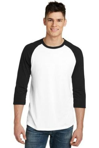 238 DT6210 District   Young Mens Very Important Tee   3/4-Sleeve Raglan