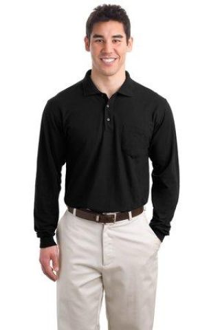 Port Authority Long Sleeve Silk Touch153 Polo with Pocket K500LSP