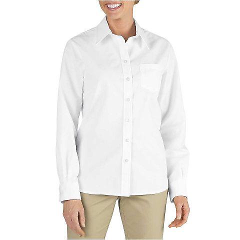 Dickies Workwear FL136 Ladies' Long-Sleeve Stretch Poplin Shirt WHITE