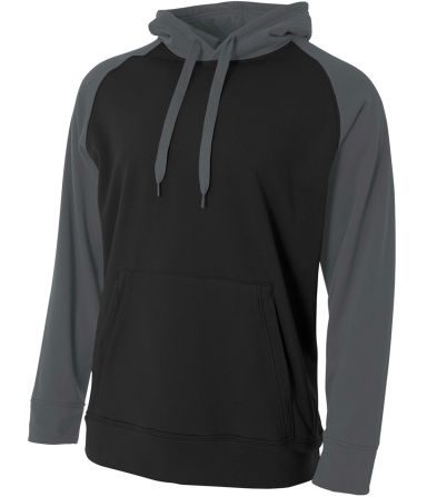 N4234 A4 Drop Ship Men's Color Block Tech Fleece Hoodie BLACK/ GRAPHITE