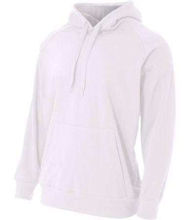 N4237 A4 Drop Ship Men's Solid Tech Fleece Hoodie WHITE