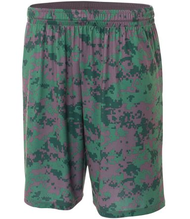 NB5322 A4 Drop Ship Youth 8 Inseam Printed Camo Performance Shorts FOREST