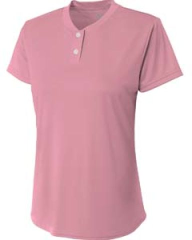 NW3143 A4 Drop Ship Ladies' Tek 2-Button Henley Shirt PINK