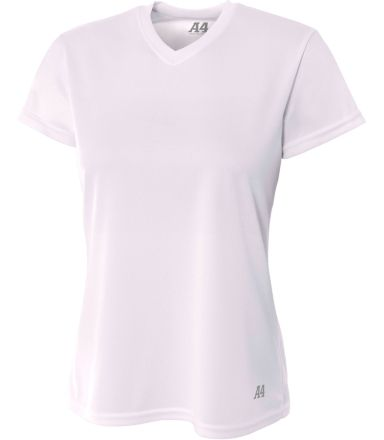 NW3254 A4 Drop Ship Ladies' Shorts Sleeve V-Neck Birds Eye Mesh T-Shirt WHITE