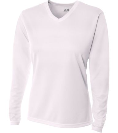 NW3255 A4 Drop Ship Ladies' Long Sleeve V-Neck Birds Eye Mesh T-Shirt WHITE
