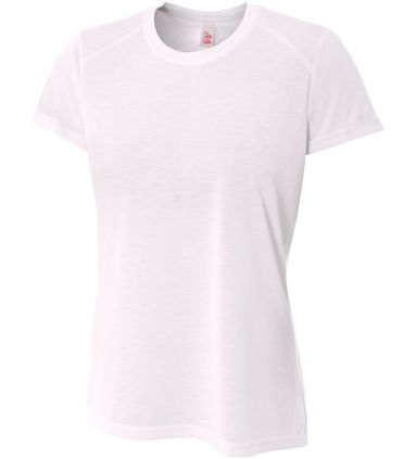 NW3264 A4 Drop Ship Ladies' Shorts Sleeve Spun Poly T-Shirt WHITE