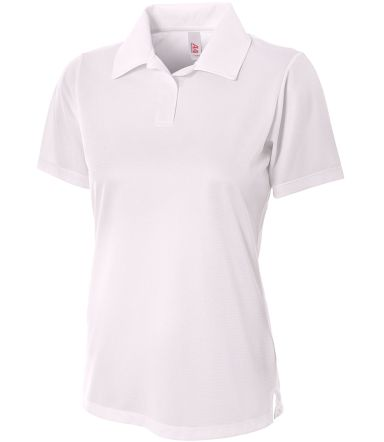 NW3265 A4 Drop Ship Ladies' Textured Polo Shirt w/ Johnny Collar WHITE
