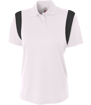 NW3266 A4 Drop Ship Ladies' Color Blocked Polo w/ Knit Collar WHITE/ BLACK