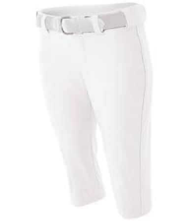 NW6188 A4 Drop Ship Ladies' Softball Pants w/ Piping WHITE