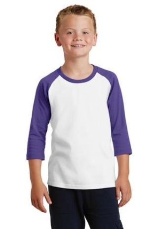 PC55YRS Port & Company® Youth 50/50 3/4-Sleeve Raglan