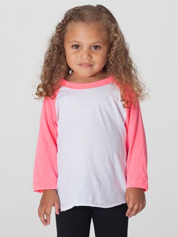 American Apparel BB153 Kids Poly-Cotton Baseball Tee
