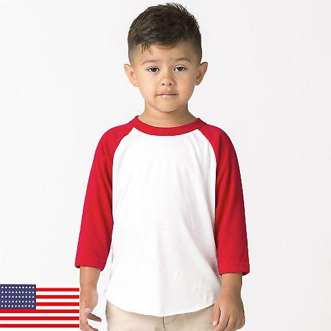 Los Angeles Apparel FF1053 / Kids Raglan White/Red