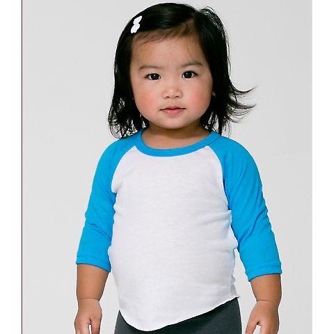 BB053 American Apparel Infant Poly-Cotton 3/4 Sleeve Raglan