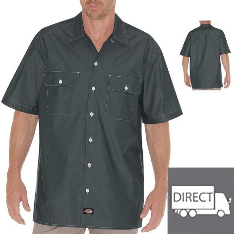 Dickies Workwear WS509 Unisex Relaxed Fit Short-Sleeve Chambray Shirt NAVY