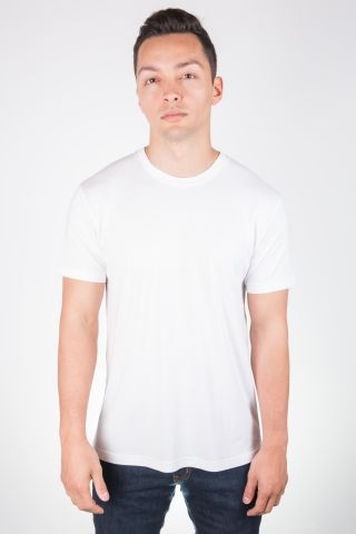 MC134 White Modal Cotton T-Shirt Front View