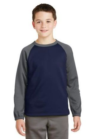 Sport Tek YST242 Sport-Tek Youth Sport-Wick Raglan Colorblock Fleece Crewneck