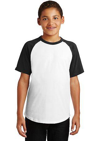 Sport Tek YT201 Sport-Tek Youth Short Sleeve Colorblock Raglan Jersey