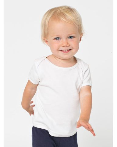 4000W American Apparel Infant Baby Rib Short Sleeve Lap T White