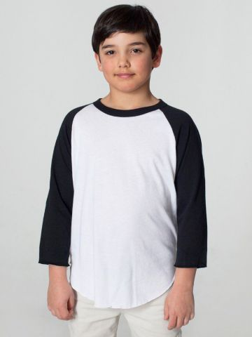 American Apparel BB253W Youth Poly-Cotton 3/4-Sleeve T-Shirt White/Black