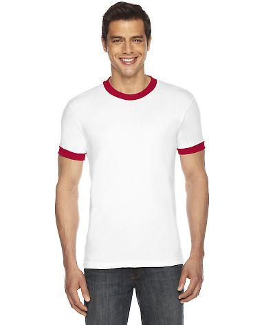 BB410W Unisex Poly-Cotton Short-Sleeve Ringer T-Shirt White/Red