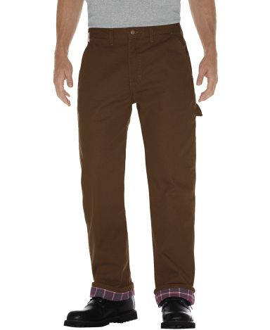 Dickies Workwear DU217 Men's Relaxed Straight-Fit Flannel-Lined Carpenter Duck Jean Pant RINSED TIMBER _32