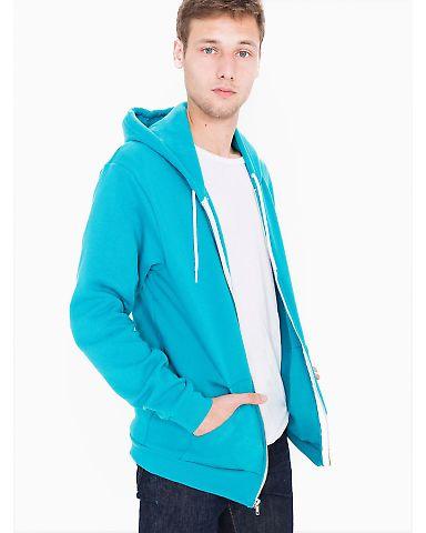 F497W Unisex Flex Fleece Zip Hoodie NEON HTHR BLUE
