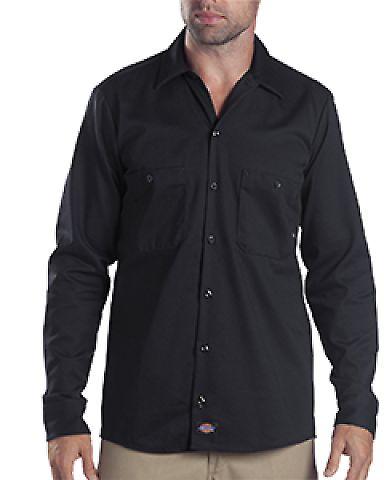 Dickies Workwear LL307T 6 oz. Tall Industrial Long-Sleeve Cotton Work Shirt BLACK