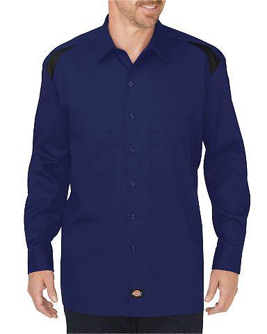 Dickies Workwear LL605 Men's Long-Sleeve Performance Team Shirt SRF BLU/ BK CBLK