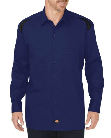 Dickies Workwear LL605T Men's Tall Long-Sleeve Performance Team Shirt SRF BLU/ BK CBLK