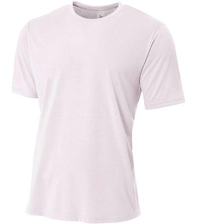 N3264 A4 Drop Ship Men's Shorts Sleeve Spun Poly T-Shirt WHITE