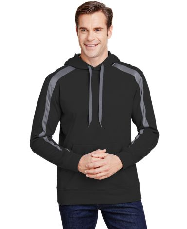 A4 Apparel N4004 Men's Spartan Tech-Fleece Color Block Hooded Sweatshirt BLACK/ GRAPHITE