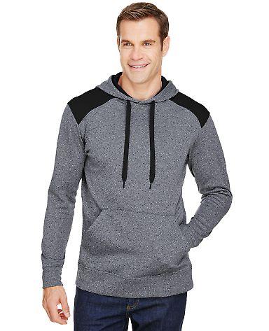 A4 Apparel N4093 Men's Tourney Color Block Tech Fleece Hooded Sweatshirt HEATHER/ BLACK