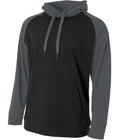 N4234 A4 Drop Ship Men's Color Block Tech Fleece Hoodie BLACK/ GRAPHITE