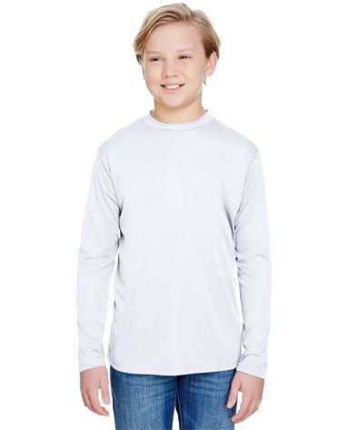 NB3165 A4 Youth Cooling Performance Long Sleeve Crew WHITE