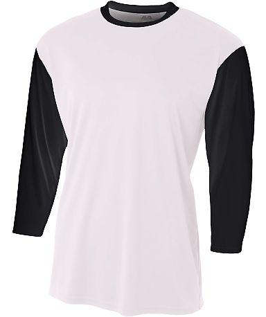 NB3294 A4 Drop Ship Youth 3/4 Sleeve Utility Shirt WHITE/ BLACK