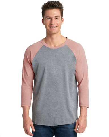 Next Level 6051 Unisex Tri-Blend 3/4 Sleeve Raglan DSRT PNK/ PRM HT