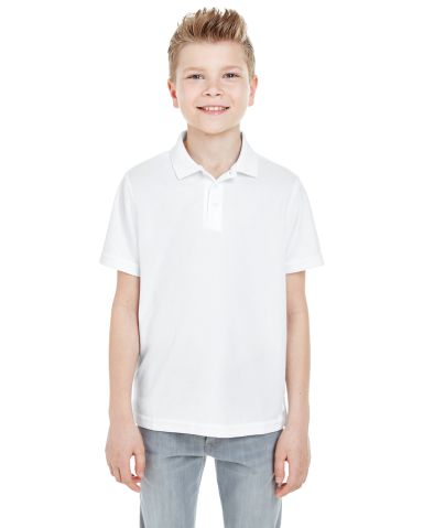 8210Y UltraClub® Youth Cool & Dry Mesh Piqué Pol WHITE