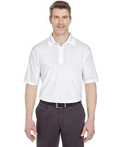8255 UltraClub® Men's Cool & Dry Jacquard Perfor White