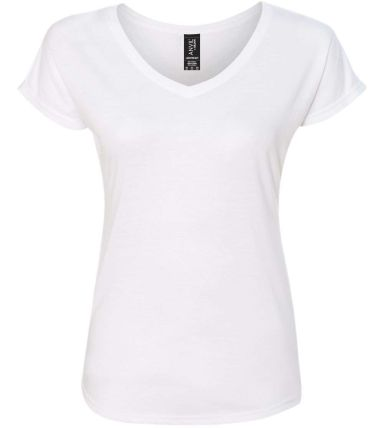 6750VL Anvil - Ladies' Triblend V-Neck T-Shirt  White