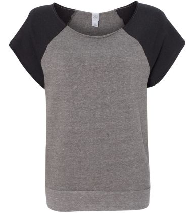 Alternative Apparel 2823 Ladies Short Sleeve Pullo EC GRY/ EC T BLK