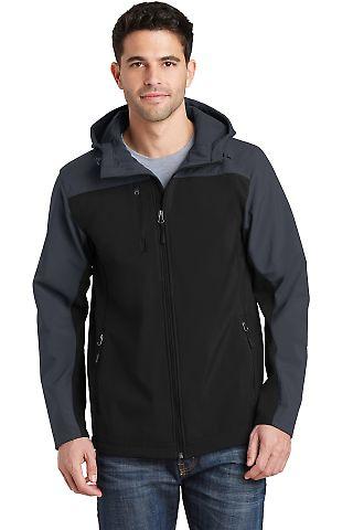 J335 Port Authority Hooded Core Soft Shell Jacket Black/Batl Gry