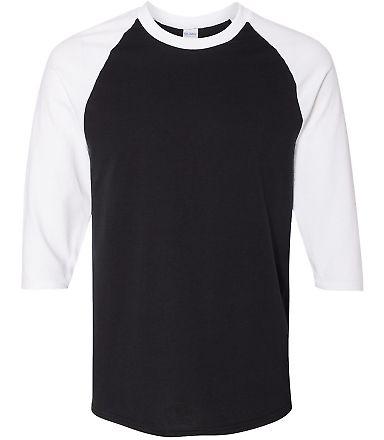 5700 Gildan Heavy Cotton Three-Quarter Raglan T-Sh BLACK/ WHITE