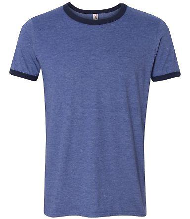 988AN Anvil Lightweight Ringer T-Shirt H BLUE/ TR NAVY