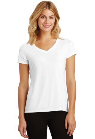 DM1350L District Made Ladies Perfect Tri-Blend V-N White