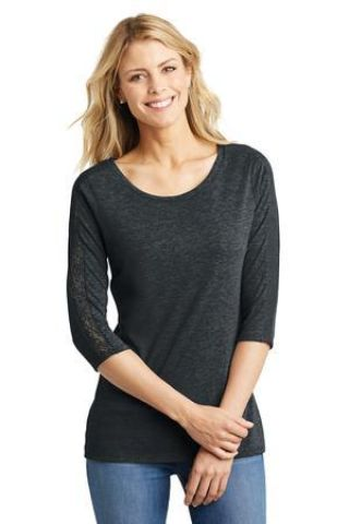 DM444 District Made Ladies Tri-Blend Lace 3/4-Sleeve Tee Catalog