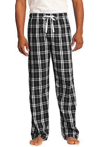 District DT1800 Young Mens Flannel Plaid Pant Black